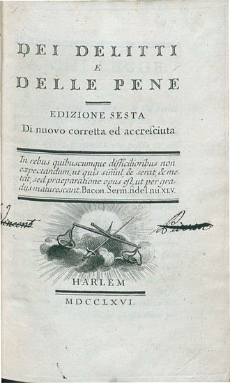 On Crimes and Punishments - Dei delitti e delle pene (1766), frontpage, 6th edition