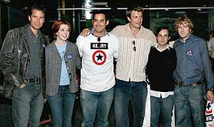 Nicholas Brendon - (From left to right) Alexis Denisof, Alyson Hannigan, Brendon, Nathan Fillion, Danny Strong and Tom Lenk at a John Kerry fund raiser.