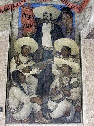 Zapata (lithograph) - Image: Detail from Corrido of the Agrarian Revolution, 1923, Fresco. Second floor, third level. Secretaría de Educación Pública, Mexico