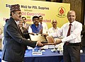 Dharmendra Pradhan and the Minister for Supply, Nepal, Shri Deepak Bohara witnessing the exchange of signed MoU between Indian Oil Corporation Ltd. (IOCL) and Nepal Oil Corporation (NOC) for POL supplies, in New Delhi.jpg