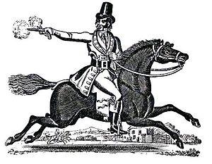 Highwayman - Dick Turpin riding Black Nugget, from a Victorian toy theatre.