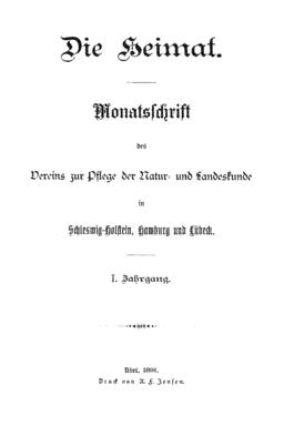 Die Heimat 1891 Titel