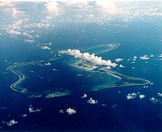 British Indian Ocean Territory - View of Diego Garcia, showing military base.
