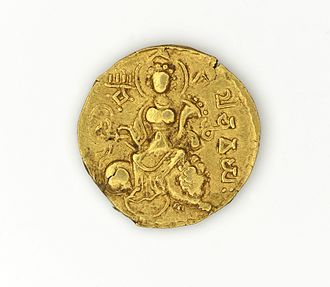 Chandragupta I - The goddess on Chandragupta's coin