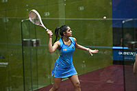 Dipika Pallikal (India) defeated Jaclyn Hawkes (New Zealand) in the women's semifinals 04.jpg