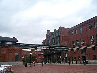 The Distillery District holds the largest collection of preserved Victorian industrial architecture in North America. Distillerie Gooderham and Worts.jpg