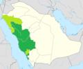 Distribution of Hejazi Arabic in Saudi Arabia.png
