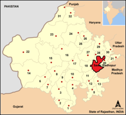 Location of 19. Sawai Madhopur district in Rajasthan