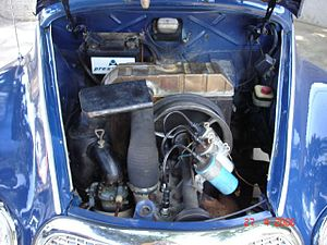 DKW 3=6 - Unusually, the radiator was placed directly ahead of the firewall, but behind the two-stroke engine.