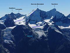 Versante ovest del Monte Dom con indicati i passaggi più significativi della via normale di salita dalla Domhütte.