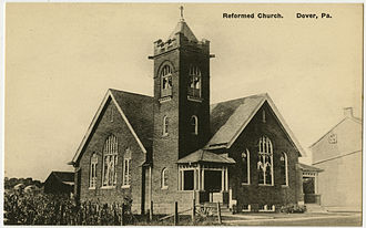 Dover, Pennsylvania - Dover United Church of Christ on a vintage postcard
