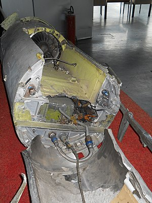 Tomahawk (missile) - Remnants of a shot down Tomahawk from Operation Allied Force, showing the turbofan engine at the Museum of Aviation in Belgrade, Serbia