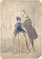 "Drawing for scene from Vanity Fair- ""Street Scene"" (recto); Sketch of Young Woman (verso) MET DP800741.jpg"