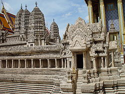 This model of Angkor Wat shows intact the half-galleries of the lower level and towers at the corners of the second-level galleries.