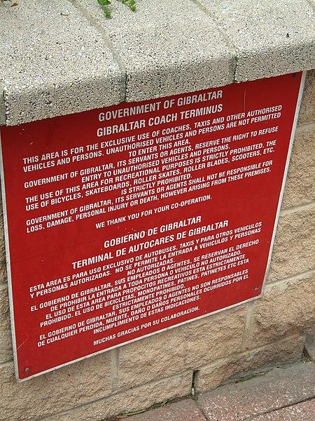 File:Dual-language notice, Gibraltar Coach Terminal, Gibraltar.jpg