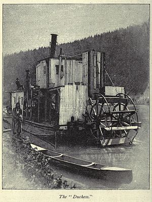 Frank P. Armstrong - Duchess, steamboat, near Golden, BC 1887.  A member of the First Nations. possibly serving as a crewman, is also shown near the steamer.