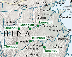 Map of eastern interior Chinese cities of Luoyang, Chang'an, Qinzhou, Chengdu, Kuizhou, and Tanzhou