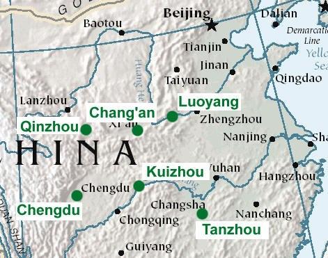 Map of eastern interior Chinese cities of Luoyang, Chang'an, Qinzhou, Chengdu, Kuizhou, and Tanzhou