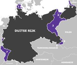 1 tot en met 8: Door het Duitse Rijk afgestane gebieden na de Eerste Wereldoorlog.