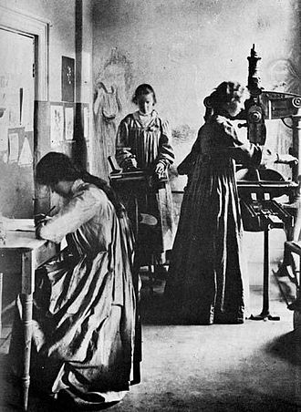 Small press - The Dun Emer Press in 1903 with Elizabeth Yeats working the hand press.