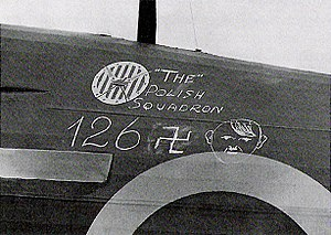 "No. 303 Polish Fighter Squadron - 126 German aircraft or ""Adolfs"" were claimed as shot down by No. 303 Squadron pilots during the Battle of Britain. This is the score of ""Adolfs"" chalked onto a Hurricane."
