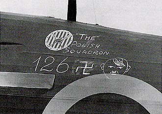 Polish Armed Forces in the West - 126 German airplanes shot down by the 303 Squadron during the Battle of Britain. Painted on a Hurricane.