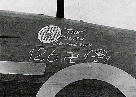 "126 German aircraft or ""Adolfs"" were claimed by Polish pilots of 303 Squadron during the Battle of Britain Dywizjon 303 4.jpg"
