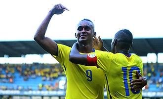 Fidel Martínez - Martínez celebrating scoring a goal for Ecuador in a match against Panama.