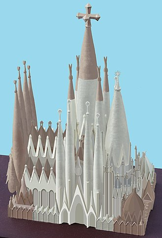 Sagrada Família - In this model, parts already built are shown in brown (2018).