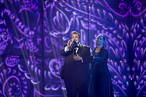Belgium in the Eurovision Song Contest 2014 - Axel Hirsoux on stage with dancer Isabelle Beernaert