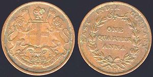 Indian anna - Image: East India Company Quarter Anna 1835