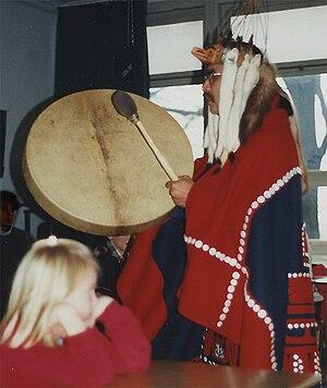 Tsimshian - Ed Bryant (Tsimshian), drumming at a meeting in Wuppertal, 1999