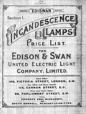 Edison and Swan Electric Light Company - Image: Edison & Swan price list 1893
