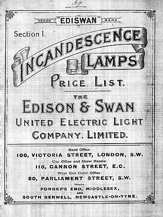Edison and Swan Electric Light Company - Image: Edison & Swan price list 1893