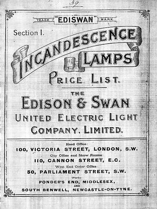 Edison & Swan price list 1893