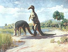 1909 painting of two Edmontosaurus individuals on the lake shore, shown with fingers joined into a paddle
