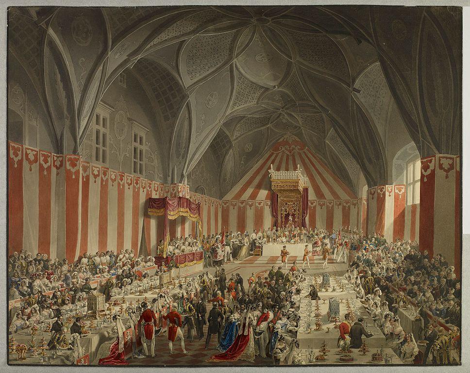 Bal dans la salle Vladislav au Chateau de Prague. Tableau de Eduard Gurk