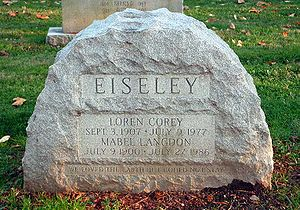 "Loren Eiseley - Loren Eiseley's headstone in West Laurel Hill Cemetery - ""We loved the earth but could not stay"""