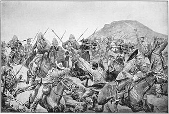 Battle of Elandslaagte - Charge of the 5th Lancers at Elandslaagte, from a drawing by Richard Caton Woodville