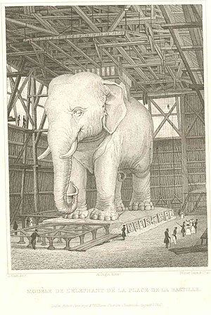 Place de la Bastille - Siderograph (steel engraving) of the full-scale elephant to be built, by Augustus Welby Northmore Pugin, 1830