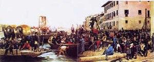 Eleuterio Pagliano - Eleuterio Pagliano, Lo sbarco di Garibaldi e dei suoi Cacciatori delle Alpi a Sesto Calende May 23, 1859, 230 cm x 600 cm, Oil on canvas, Varese Civic Museum.