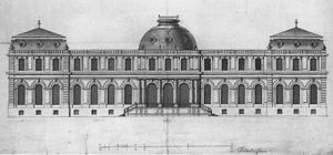 Poppelsdorf Palace - Image: Elevation (first project) Schloss Poppelsdorf May 1715 Neuman 1994 p 86