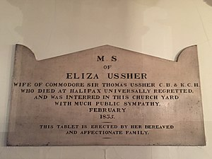 Thomas Ussher - Eliza Ussher Plaque, St. Paul's Church (Halifax), Nova Scotia, Canada