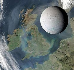 Figure 5: Enceladus's size compared to the United Kingdom