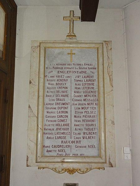 Englefontaine (Nord, Fr) église Saint-Georges, monument aux morts victimes civiles