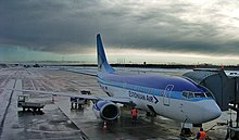 Estonian Air B737-5L9 (ES-ABL) parked at Tallinn Airport.jpg