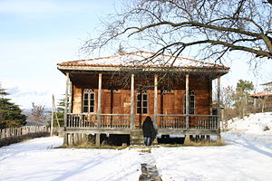 Tbilisi Open Air Museum of Ethnography - A life-size model of a traditional Georgian house displayed at the Open Air Museum