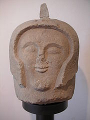 An Etruscan warrior head figure used as a cippus (grave marker) in the necropolis Crocifisso del Tufo outside Orvieto