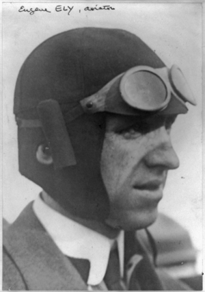 Aviator hat - Eugene Ely, wearing aviator's hat and goggles.