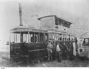 Glenelg tram - Eureka steam motor purchased second-hand from Port Adelaide and Queenstown Tramway Company in April 1883. Used on South Terrace line between South Terrace and Goodwood